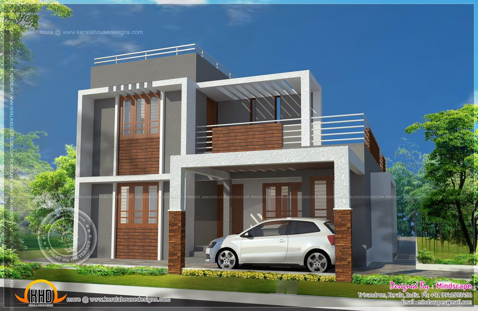 Small double storied contemporary house plan indian for Kerala home designs photos in double floor
