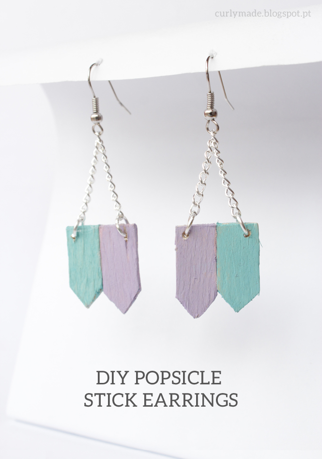 How to make: Popsicle Stick Earrings - curlymade.blogspot.pt #diy #crafts #upcycle #pastel