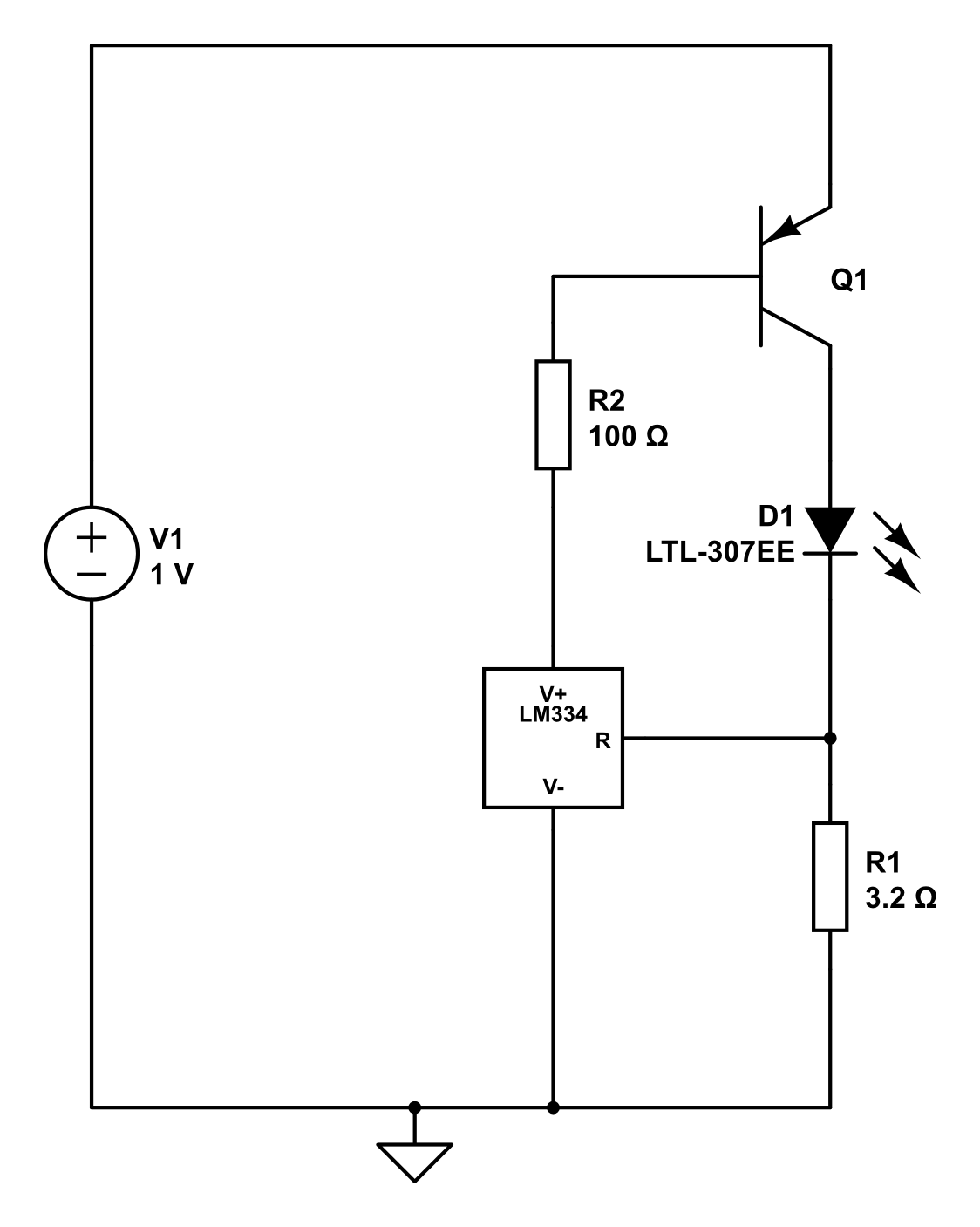 Toms Projects A Beginners Guide To Driving Leds Part 3 Lm317 Led Driver Circuit Basically The Voltage Over R1 Is Kept At 64 Mv By Lm334 It Does That Setting Current Into V