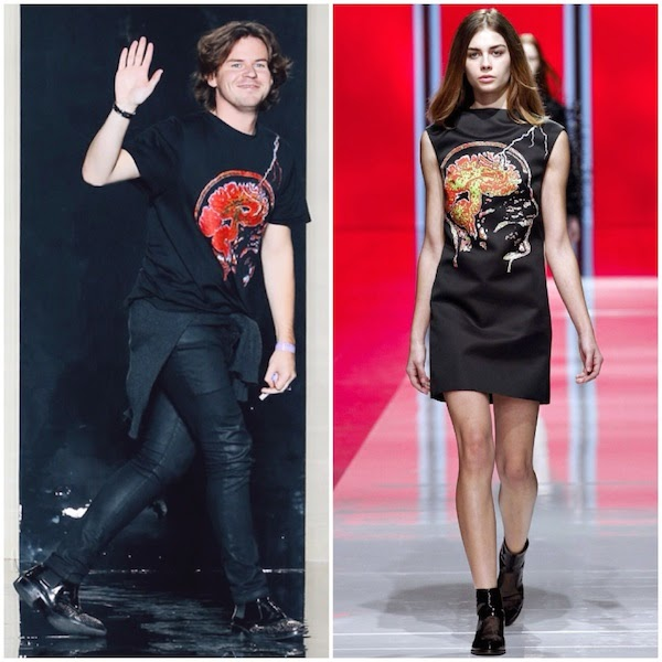 Christopher Kane wears face brain lightning t-shirt at Christopher Kane Spring Summer 2015