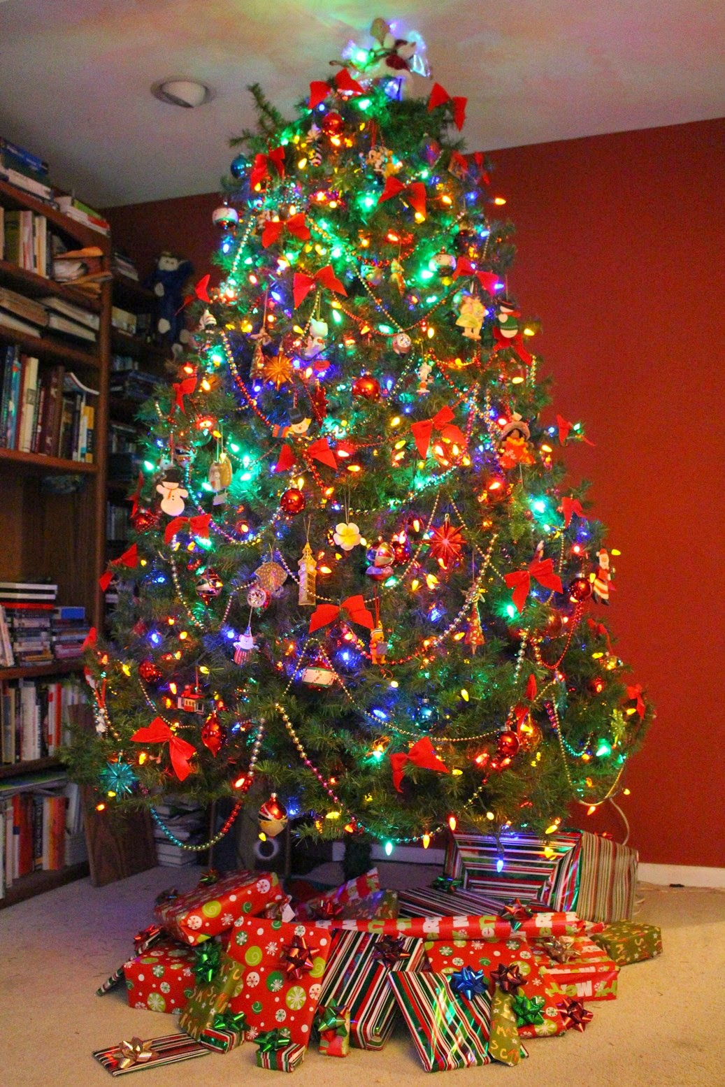 Christmas tree decorated in multi-color lights