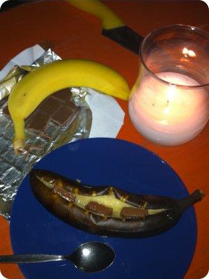 Gegrillte Banane mit Schokolade