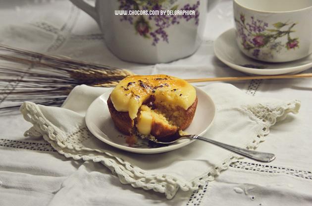 Pastelito de galleta bretona con copete de crema catalana