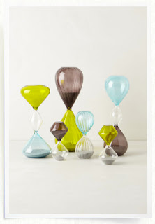Green blue and purple hourglass pieces from Anthropologie