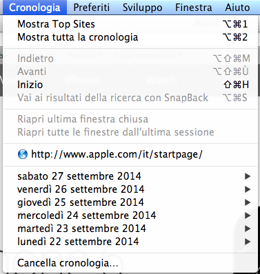 Menu safari per svuotare cache su MAC