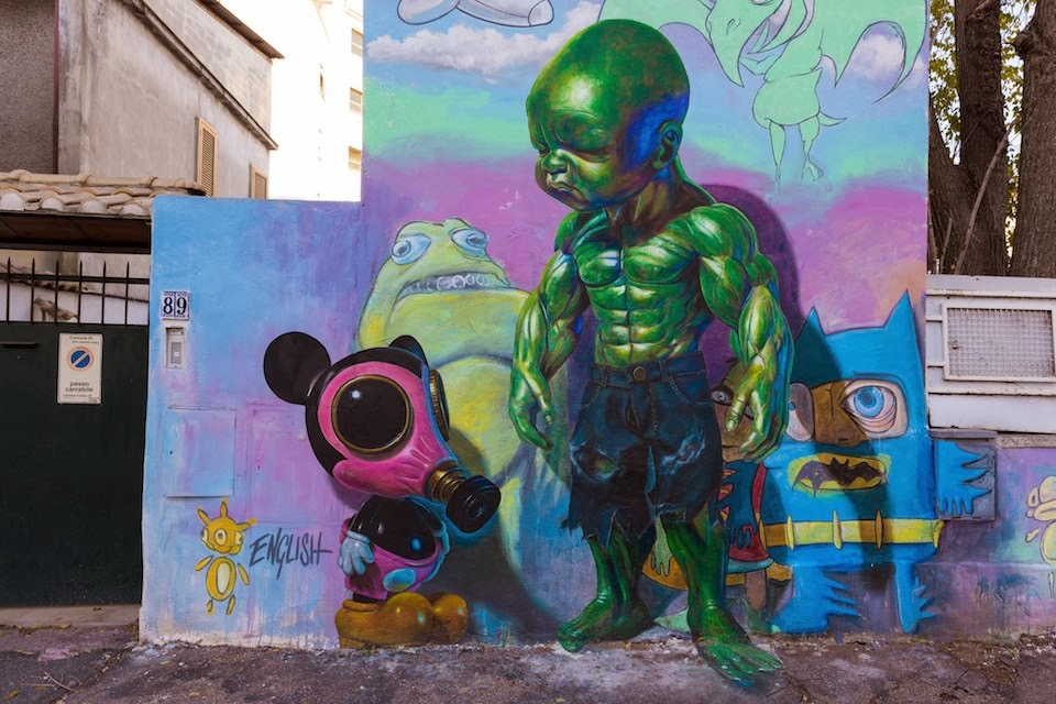 Baby Hulk and Gas Masked Mickey Mouse Street Painting Art By Ron English