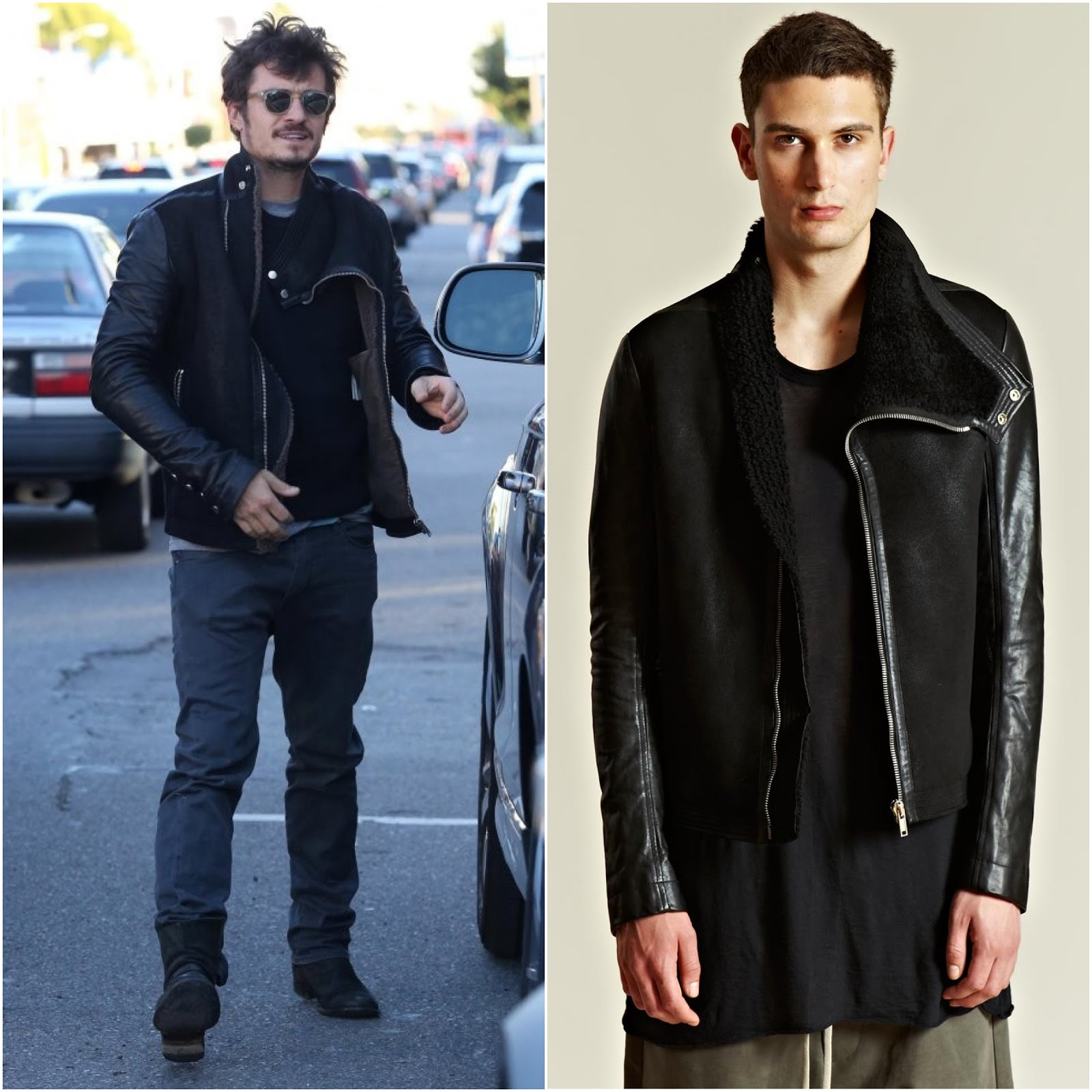 00O00 London Menswear Blog Orlando Bloom in Rick Owens men's Calfskin And Lamb Leather Mountain Jacket from A/W 12 collection in black - Out and about in Beverly Hills