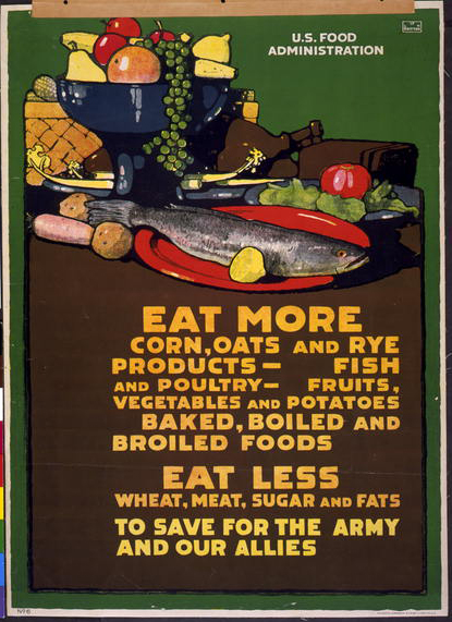 food, food and drug administration, war, military, propaganda, vintage, vintage posters, retro prints, classic posters, free download, graphic design, Eat More, Eat Less, To Save for the Army and Our Allies - Vintage War Military Poster