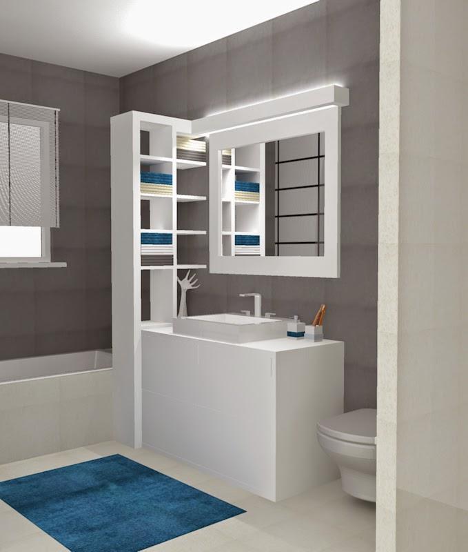 Projekt Mieszkanie Wąska łazienka