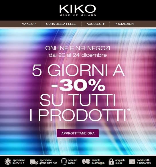 KIKO - Sconto 30% su tutto per 5 giorni!
