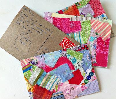 postales retazos de tela y carton manualidades