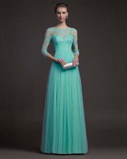 Charming Sheath/Column Bateau Beading Lace Floor-length Tulle Prom Dresses