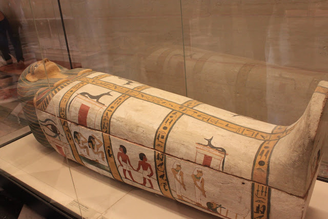 Egyptian coffin in Lourve Museum in Paris, France