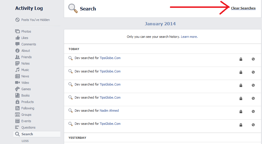 facebook clear search