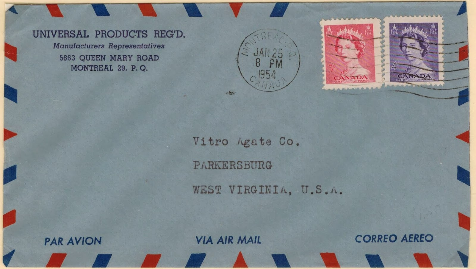 montreal to parkersburg wva january 25 1954 7 cents air mail letter rate to the united states