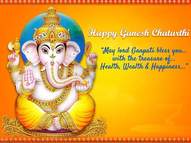 Happy Ganesh Chaturthi Greeting with beautiful massage free