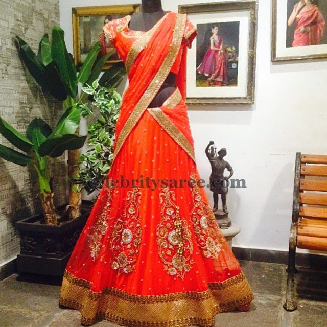 Orange Zardosi Half Saree by Bhargavi