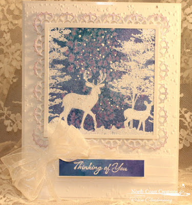 North Coast Creations Stamp sets: Deer Silhouette Greetings, Our Daily Bread Designs Custom Dies: Layered Lacey Squares