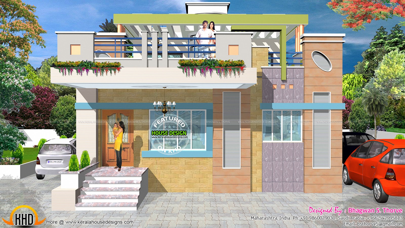 Maharashtra house design with plan kerala home design for House front model design
