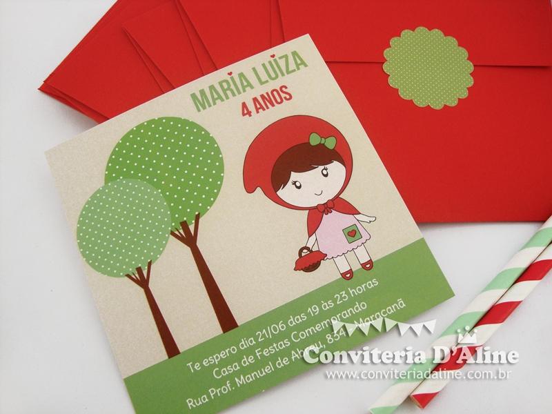 convite chapeuzinho vermelho