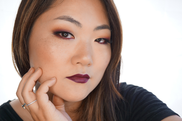 I did two versions of this Vampy edgy makeup look using one of my favorite RED eyeshadow from Makeup for ever Artist shadow in Morello Cherry ( M-846) with ...