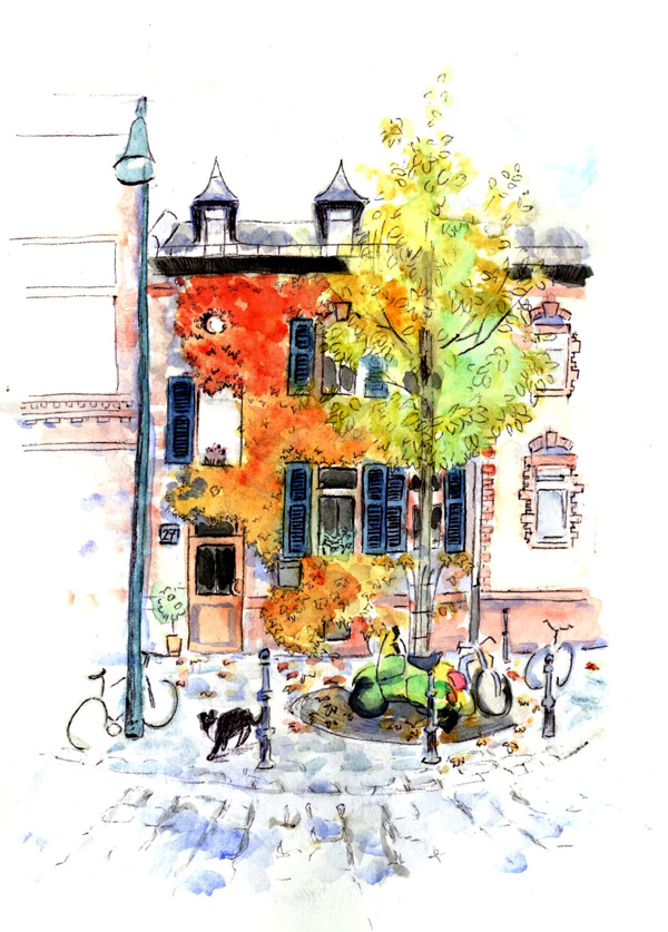 Martinsviertel, Darmstadt, 2011 watercolor