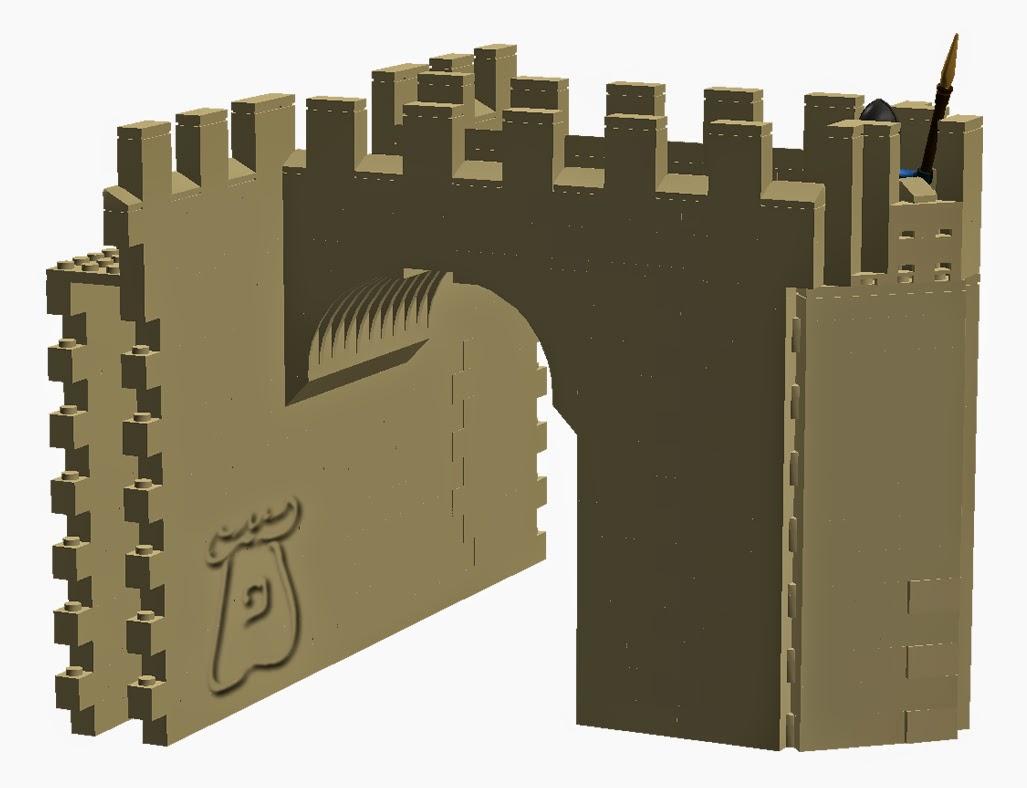 Ejemplo 2: Torre albarrana, con forma pentagonal en proa, unida al paño de la muralla por medio de un arco.