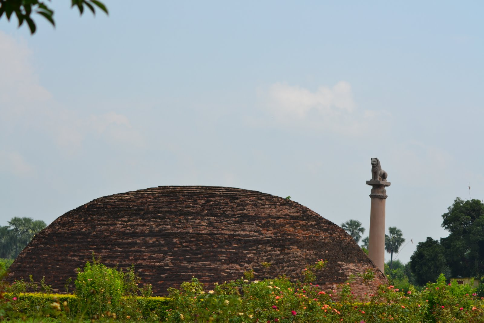 Remains of ancient vaishali , Ashoka pillar and remains of stupa