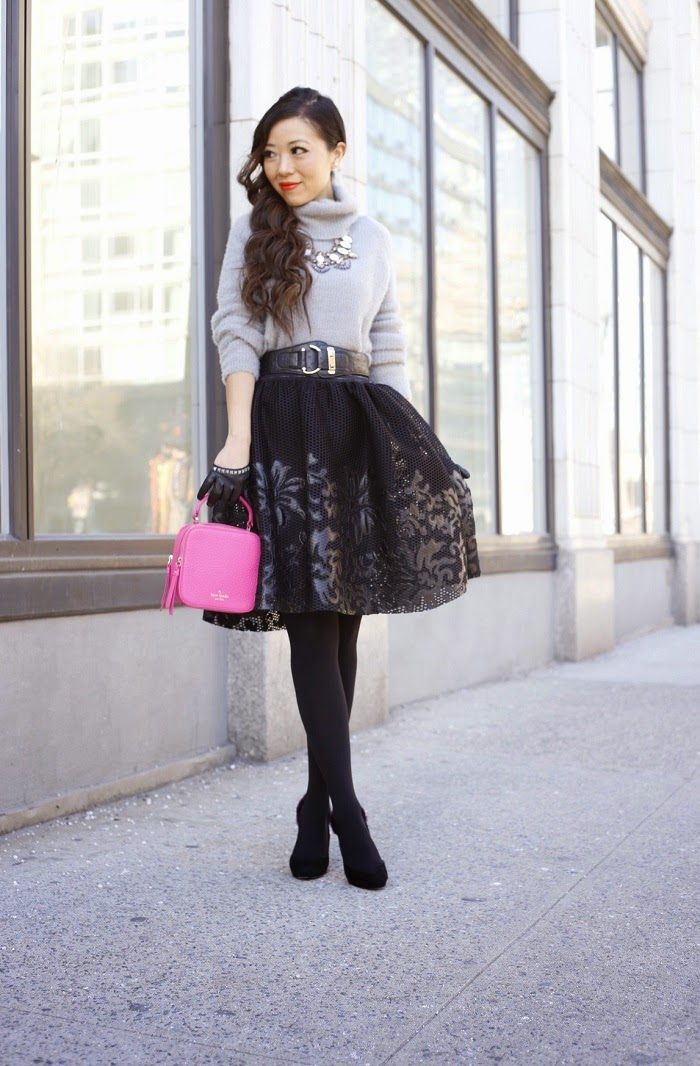 Sam Edelman Mesh Skirt with Floral Applique, Christian Louboutin heels, red sole, kate spade mini bobi bag, hot pink, winter datenight outfit ideas, valentines day outfit ideas, cheap monday turtleneck sweater, baublebar statement necklace, Baublebar 360 pearl studs, asos gloves, daniel wellington watches, nyc, new yorker, fashion blog, winter outfit ideas, mini bag, trends
