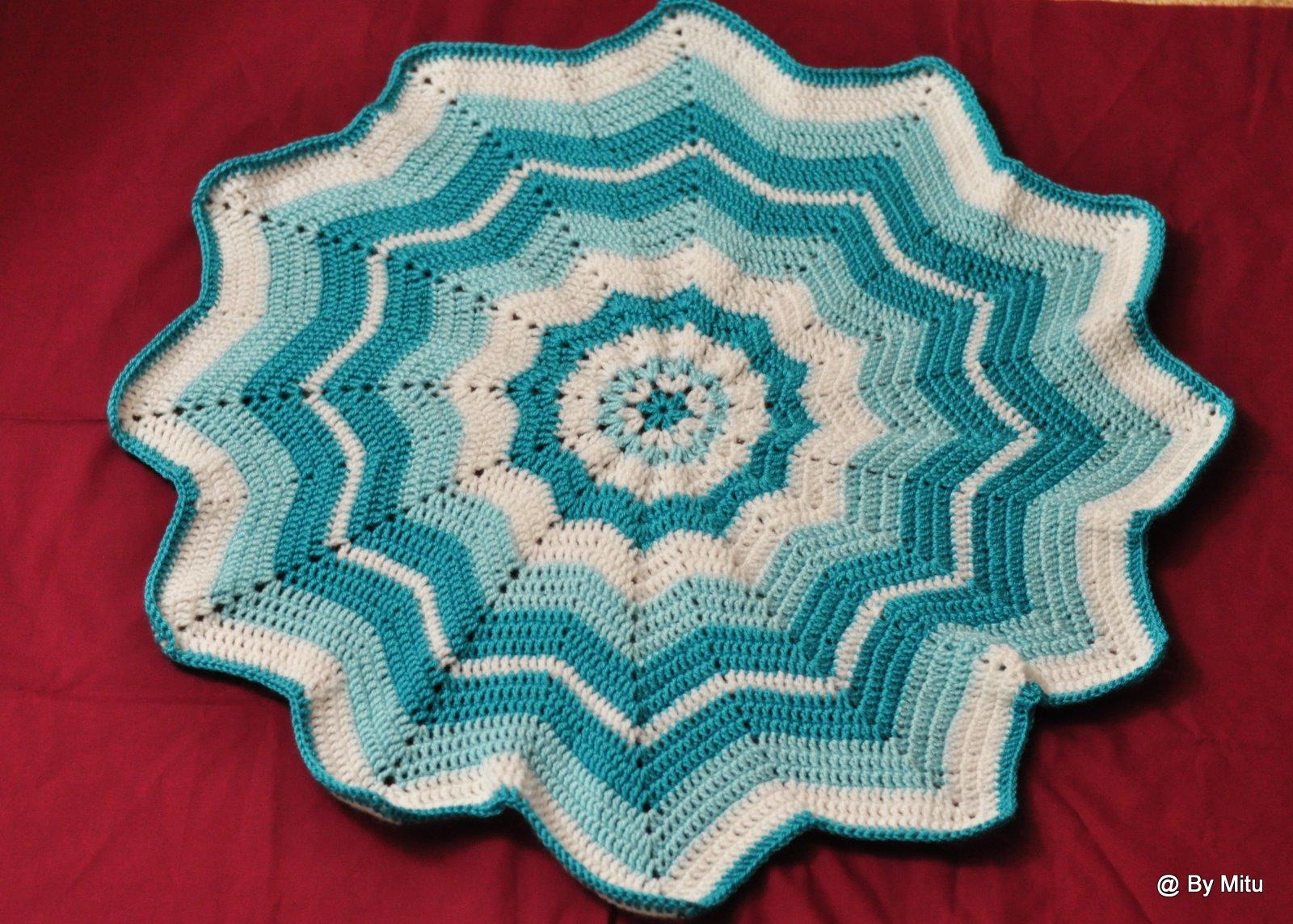 Art and Craft Work: Crochet - Blue Baby Afghan( Blanket)