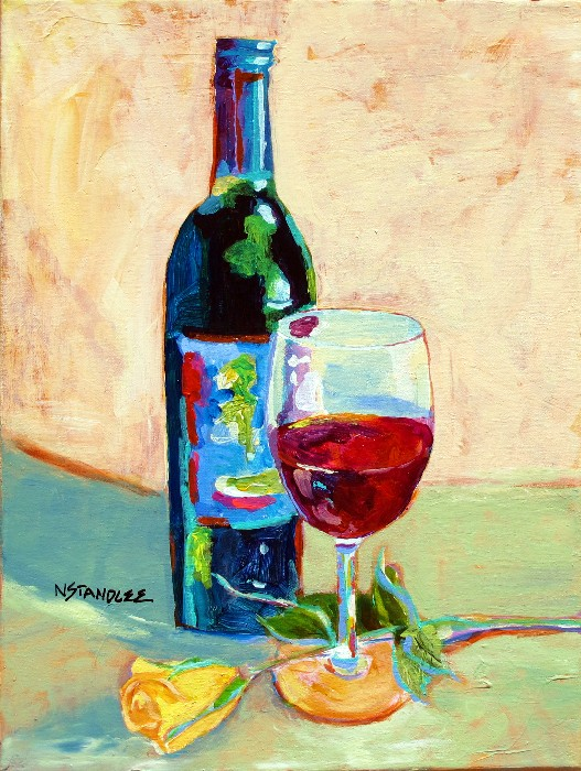 Nancy standlee fine art design on wine acrylic wine for How to paint a wine glass with acrylics