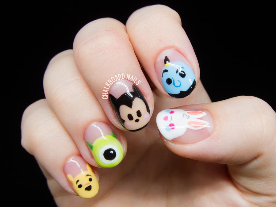 Disney Tsum Tsum Nail Art by @chalkboardnails