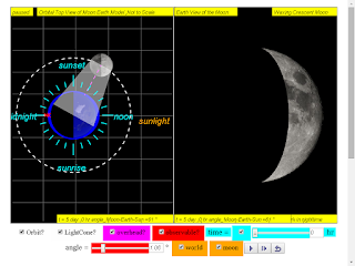 when day =5, it is waxing crecent moon click to run: EJSS Moon Phases Model offline: DOWNLOAD, UNZIP and CLICK *.html to run source: EJSS SOURCE CODES original author: Todd Timberlake, lookang author of EJSS version: lookang