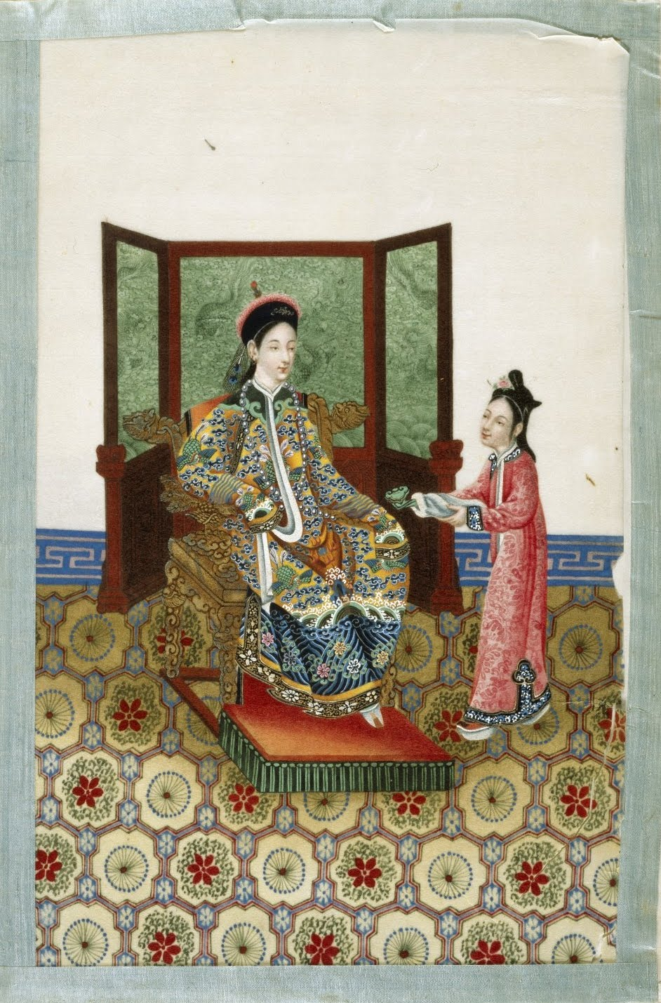 colourful Chinese royal court scene - seated nobleman and attendant