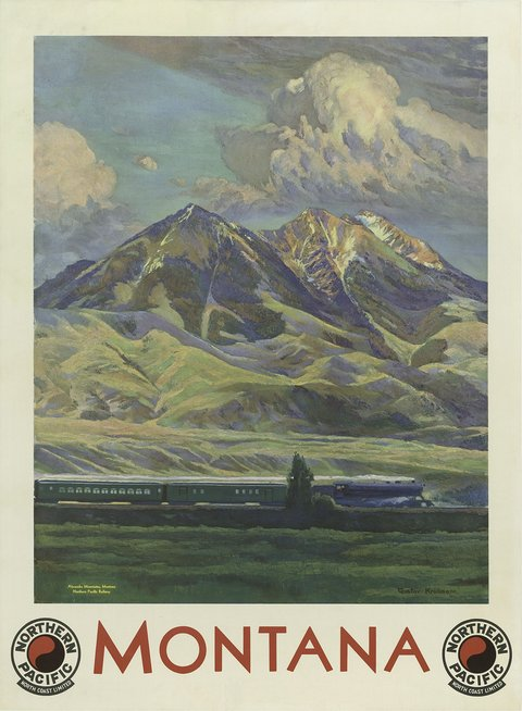 classic posters, free download, graphic design, retro prints, travel, travel posters, vintage, vintage posters, Montana, Northern Pacific - Vintage Travel Poster