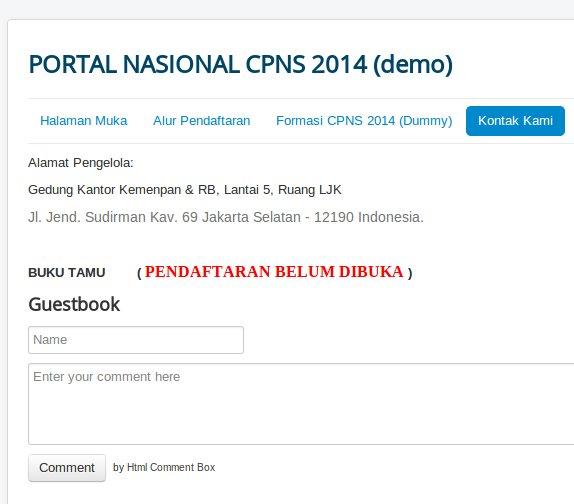 halaman pendaftaran CPNS 2014