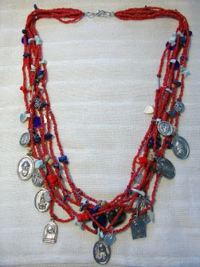 Long Necklace Red Coral, Lapiz & Turquoise - PP- Nec 2