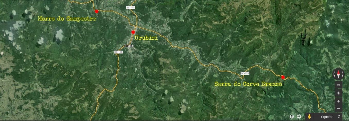 Mapa de Urubici a Serra do Corvo Branco e Morro do Campestre