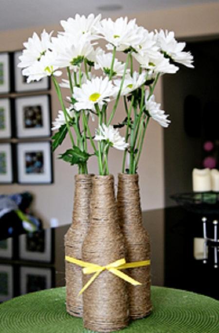 Centros de mesa con botellas de vino foro manualidades para bodas - Decorar mesa de centro de cristal ...