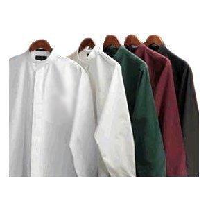 Men's Banded Collar Shirt (xlarge 17/17.5 sleeve 35, White)