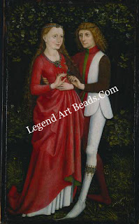 The south german portrait of about 1470 shows both the bride and the groom wearing rings.The custom of giving betrothal rings had been well established for centuries before this picture was painted.