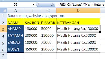 Fungsi LOGIKA IF pada Excel