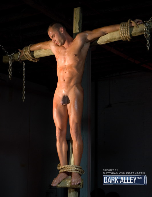naked man on cross
