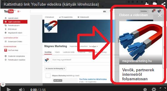 kattintható link youtube videókra - kártyák létrehozása | www.magnesmarketing.hu