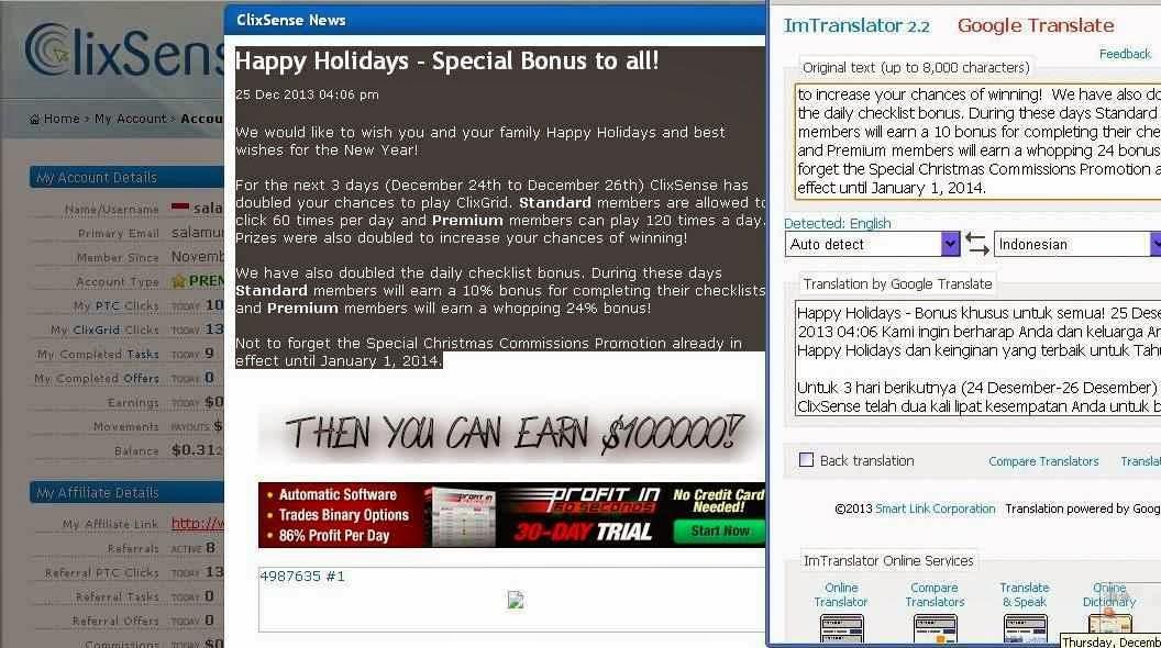 Bonus Dari Bisnis Online PTC Legit Clixsense
