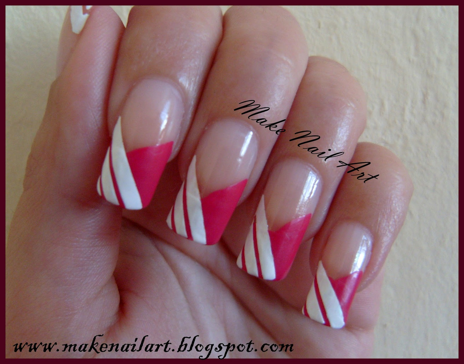 Make Nail Art: White And Pink French Manicure Nail Art Tutorial