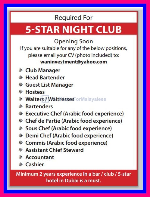 required for a 5 star night club in dubai - gulf jobs for malayalees
