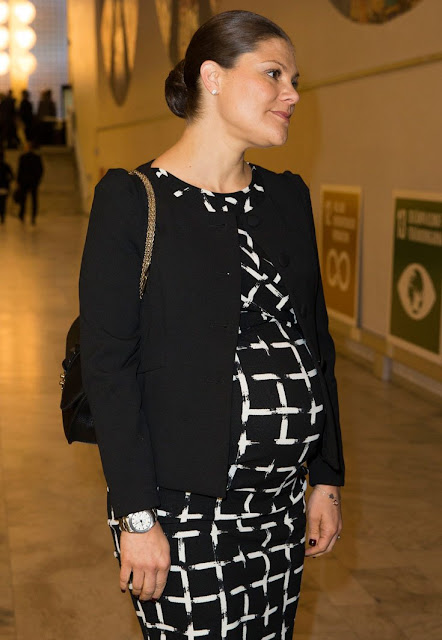 "Crown Princess Victoria of Sweden attended a conference on ""Agenda 2030 - The efforts necessary for Sweden to reach its global goals and sustainable development"" at a Swedish community center."