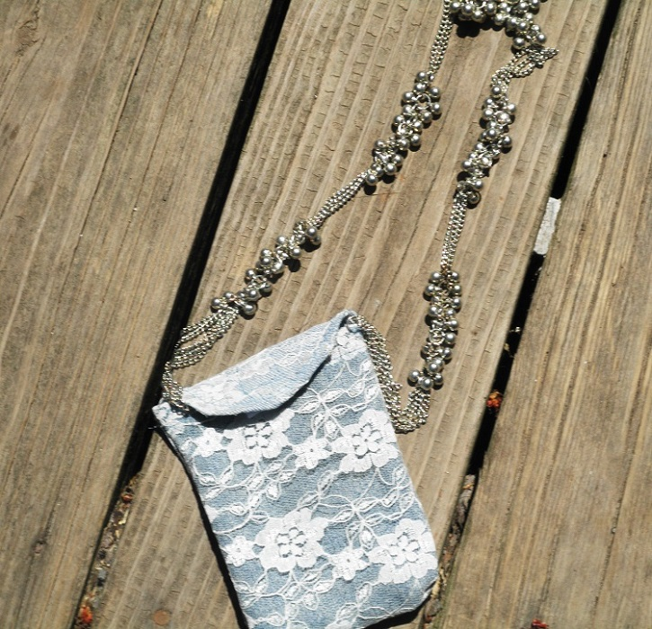 DIY Denim and Lace Cell Phone Case