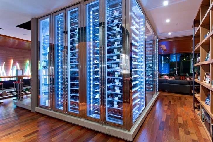 Large modern wine cellar in Multimillion modern dream home in Las Vegas